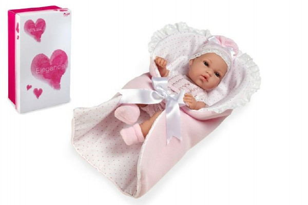 Panenka/miminko 33cm růžové tvrdé tělo v krabici