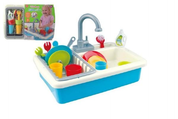 Fotografie Dřez kuchyňský set nádobím s kohoutkem na vodu na baterie s doplňky plast