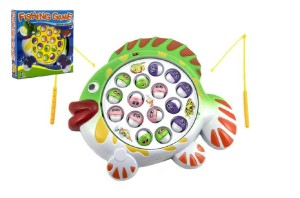 Hra ryby/rybář plast 15 ryb 23x23cm asst 2 barvy společenská hra na baterie v krabici