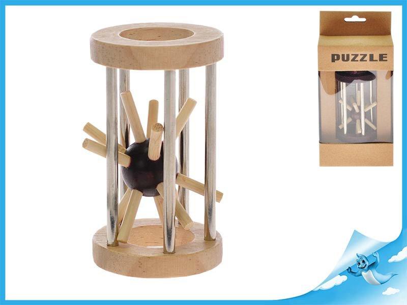 Hlavolam ježek v kleci 8cm dřevo/kov 2barvy v krabičce