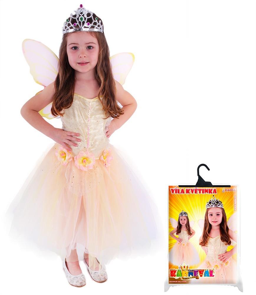 karnevalový kostým víla květinka s křídly, vel. L