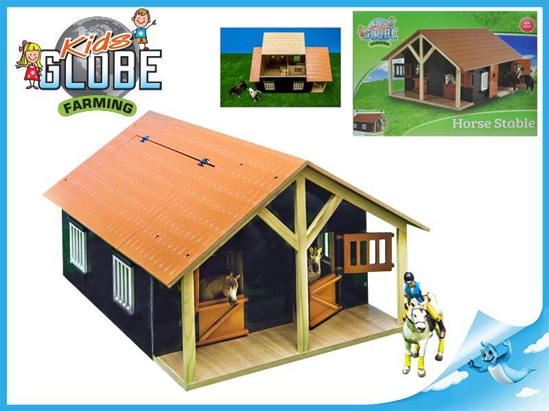 Stáj pro koně s dílnou dřevěná 51x40,5x27,5cm 1:24 v krabičce