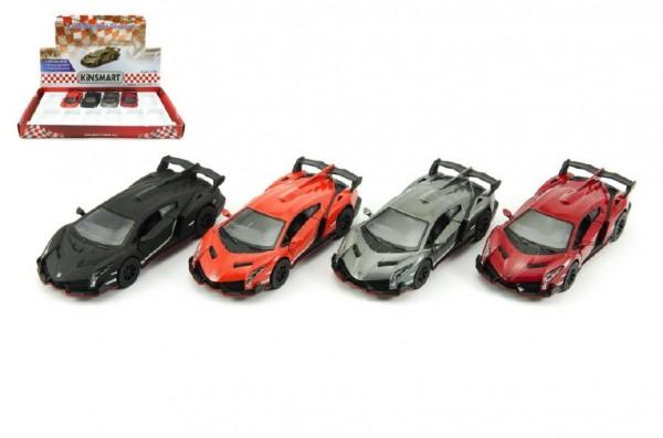 Auto Kinsmart Lamborghini Veneno kov 13cm na zpětné natažení asst 4 barvy 12ks v boxu