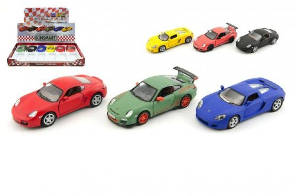 Auto Kinsmart Porsche kov 13cm na zpětné natažení asst 3 druhy 12ks v boxu