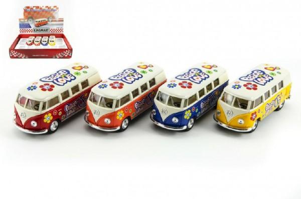 Autobus Kinsmart VW Classical kov 13cm na zpětné natažení asst 4 barvy 12ks v boxu
