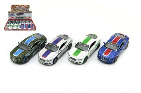 Auto Kinsmart Bentley Continental GT Speed 12cm kov asst 4 barvy na zpětné natažení 12ks v boxu