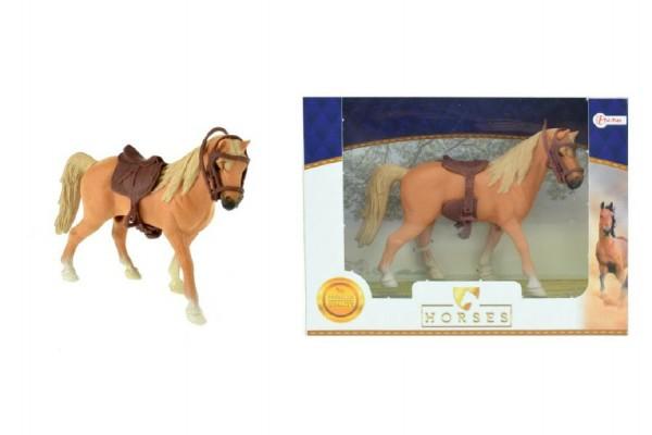 Fotografie Kůň se sedlem plast 14cm v krabičce 19x14x5cm