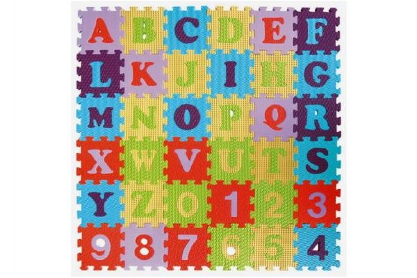Pěnové puzzle abeceda a čísla asst mix barev 36ks 15x15x1cm