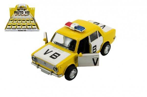 Auto VB kov 12cm na baterie se zvukem a světlem na zpětné natažení 12ks v boxu český design