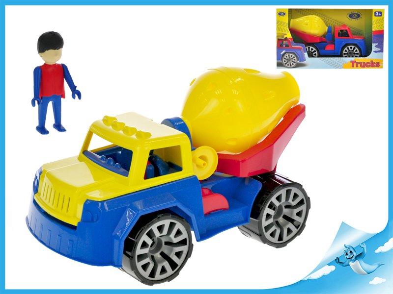 Auto stavební míchačka 30cm s panáčkem v krabičce