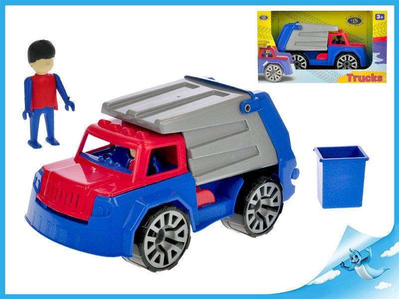 Auto nákladní popeláři 32cm s panáčkem v krabičce
