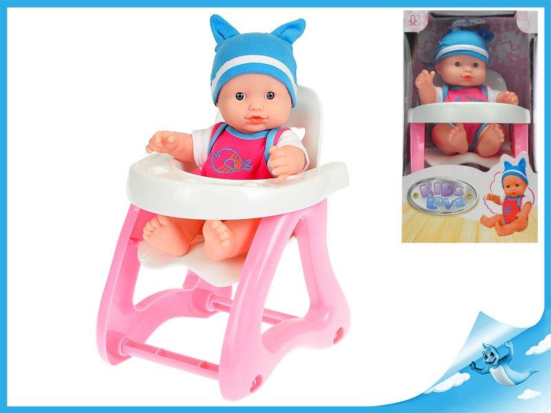 Miminko tvrdé tělo 25cm s dětskou židličkou 23cm v krabičce