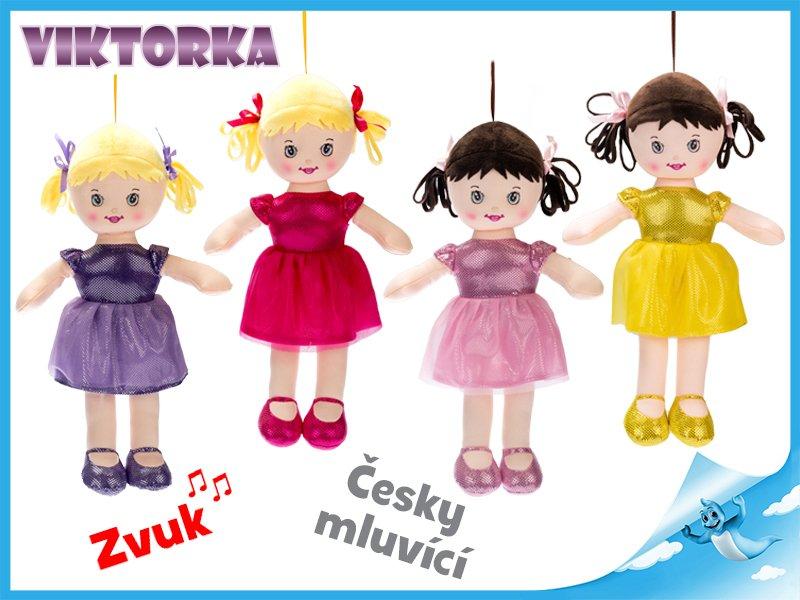 Panenka Viktorka hadrová 32cm česky mluvící na baterie 4barvy v sáčku