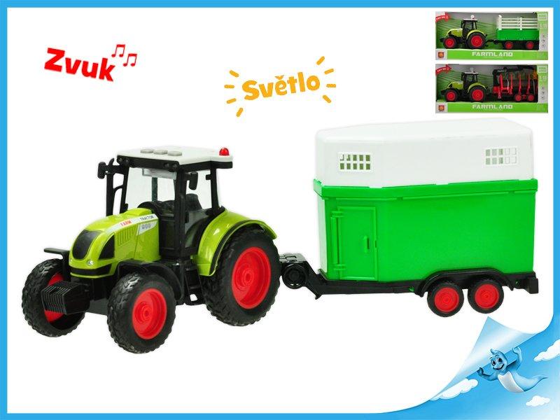 Traktor s vlečkou na setrvačník a baterie se světlem a zvukem 3druhy v krabičce