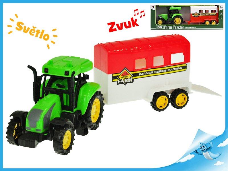 Traktor s přívěsem pro koně 33cm na setrvačník na baterie se světlem a zvukem 2druhy v krabičce