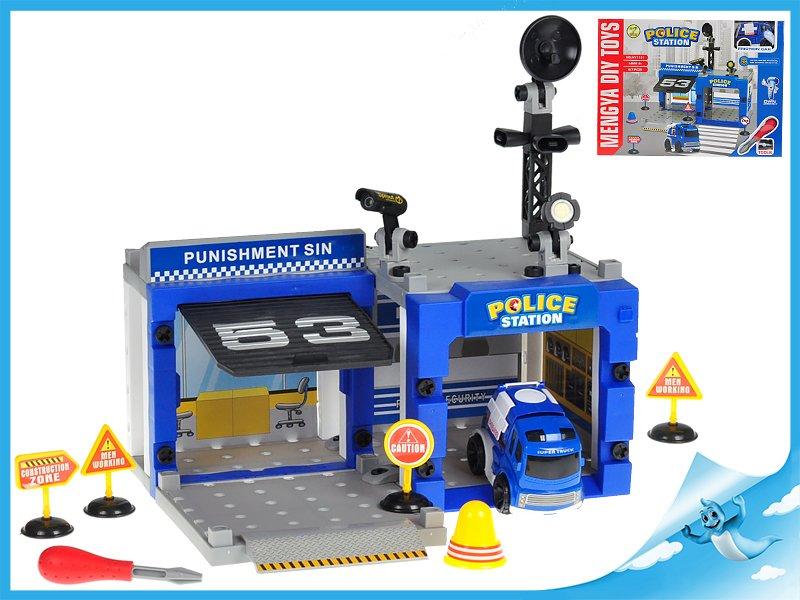 Stanice policejní šroubovací 67ks s autem 10cm na setrvačník v krabičce